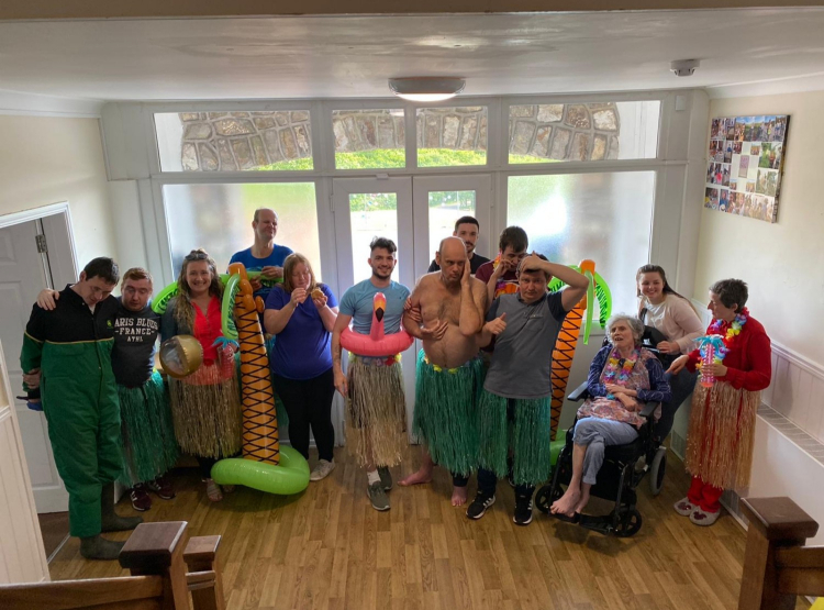 care home indoor beach party
